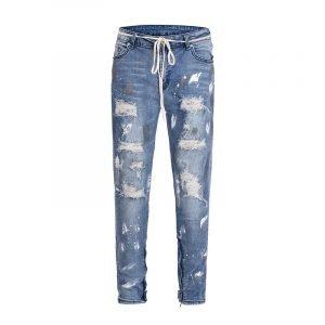 Mens Blue Lace-up Paint Splatter Distressed Jeans