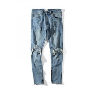 Mens Old School Washed Knee Ripped Jeans