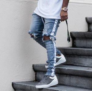 Men's Side-striped Knee Ripped Jeans