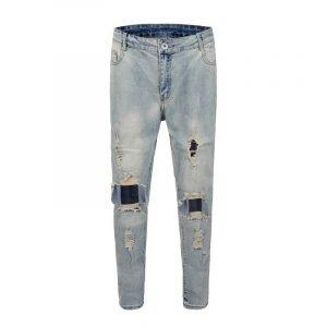 Mens Vintage Big Holes On Knees Ripped Jeans