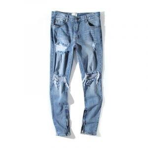 Men's Blue Vintage Ripped Jeans