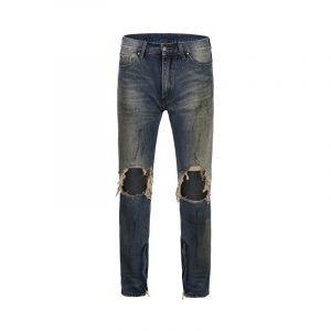 Men's Vintage Big Holes On Knee Ripped Jeans