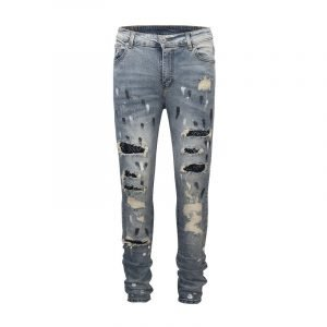 Men's Studded Patch Ripped Jeans
