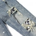 Men's Vintage Square Patched Ripped Jeans