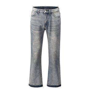 Men's Black Light Washed Flare Jeans