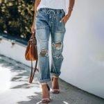 Leopard/Camo/Plaid Patched Ripped Boyfriend Jeans