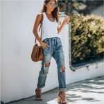 Womens Lace-up Big Holes Ripped Boyfriend Jeans