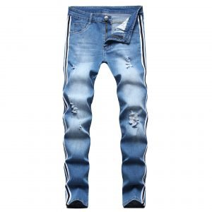 Mens Side-striped Lace-up Distressed Skinny Jeans