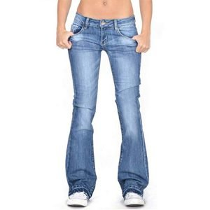 2021 Women Retro Light Washed Flare Jeans