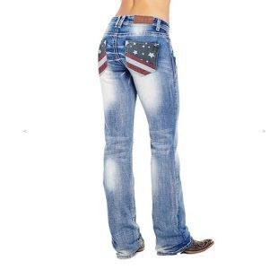 Women Vintage Blue American Flag Flare Jeans
