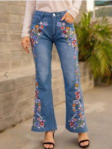 90's Women Retro Blue Floral Flare Jeans