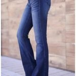 2021 Blue Mid-rise Flare Jeans For Women