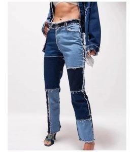 Women Blue Patchwork Color Block Skinny Jeans
