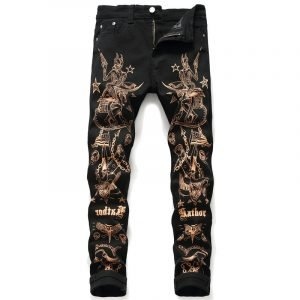 American Flag Graphic Black Skinny Jeans For Men