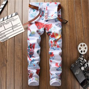 Japanese Graphic White Skinny Jeans For Men