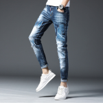 Blue Patched Distressed Super Skinny Jeans For Men