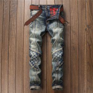 Men Vintage Blue Patched Straight Leg Jeans