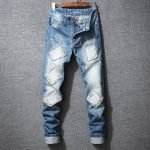 Men's Light Washed Patched Skinny Jeans