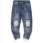 Men's Light Washed Knee Patched Skinny Jeans