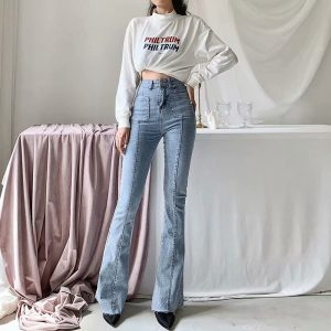 Women's Light Washed Skinny Fit Flare Jeans