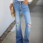 Light Washed High Rise Knee Ripped Flare Jeans