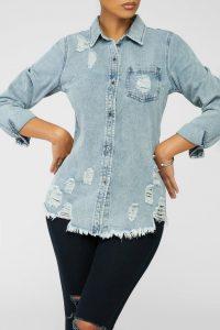 Women's Light Washed Distressed Denim Jacket