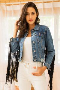 Women's Long Fringe Crop Denim Jacket
