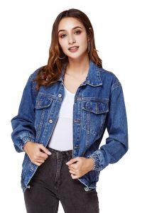 Women's Classic Dark Blue Denim Jacket