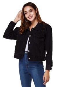 Women's Black Distressed Ripped Denim Jacket