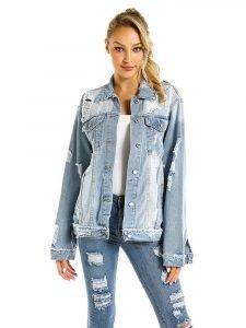 Women's Vintage Light Washed Distressed Denim Jacket