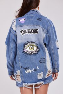 Women's Big Eye Graphic Distressed Denim Jacket