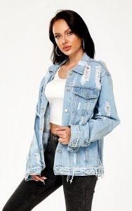 Women's Vintage Light Indigo Distressed Denim Jacket