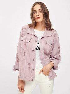 Women's Pink Distressed Denim Jacket