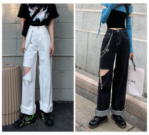 Front And Back Big Holes Baggy Jeans