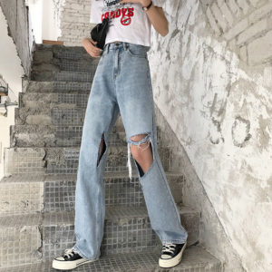 Light Blue Big Holes Baggy Ripped Jeans