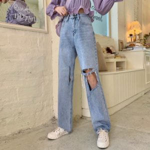 Light Blue Big Holes Baggy Ripped Jeans For Women