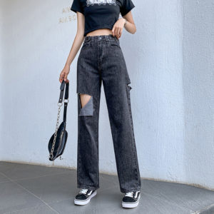 Black Straight-Leg Baggy Ripped Jeans