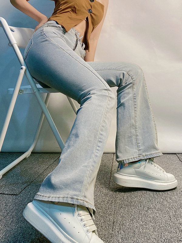 Womens Vintage Light Blue Flare Jeans